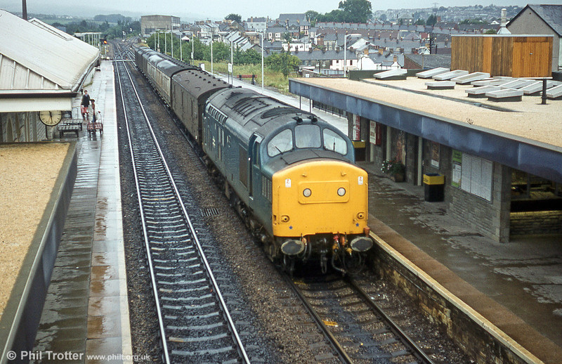 37182 passes Bridgend with a parcels train on 11th August 1980.