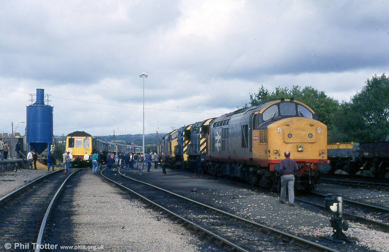 The scene at Pantyffynnon on 10th October 1987 with class 118 units C465 and C480 forming the The Monmouthshire Railway Society's 'Gwaun Cae Gurwen Groaner' railtour.