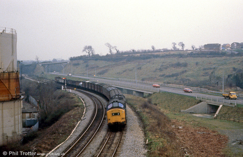 37176 approaches Haverfordwest with a mixed freight on 19th February 1980.
