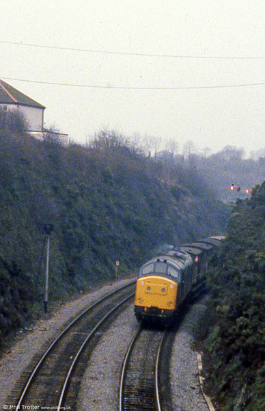 37214 departs from Haverfordwest on 19th February 1980.