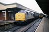 September 1998 and 37889 passes through Cardiff Central with a mgr coal train.