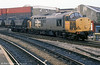 Railfreight grey liveried 37703 at Cardiff Central in May 1989. 37703 was hired to GIF, Spain in May 2001.