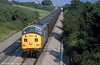 37704 descends Stormy Bank with coal empties in September 1990. The improvised 'split headcode' livery lasted just a few weeks.