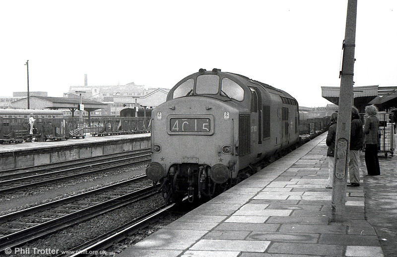 37182 passes through Cardiff Central on 8th March 1975.