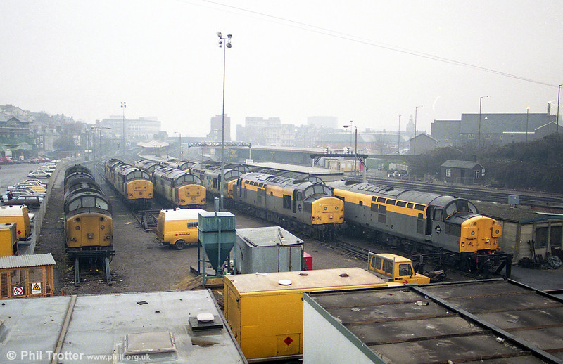 Life before class 66s: There are twelve class 37s in this view taken at Godfrey Road, Newport.