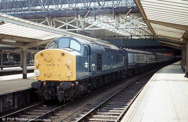 40019 'Coronia' waits to leave Manchester Piccadilly with ECS for Longsight on 17th May 1980. The loco had earlier worked 1M03, 0830 Swansea to Manchester Piccadilly from Birmingham New Street.