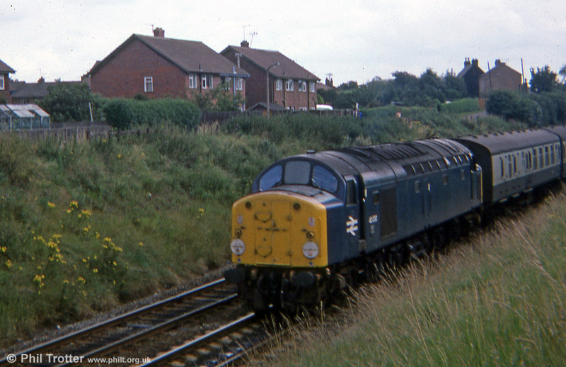 40030 approaches Chester with a North Wales coast express in 1976.