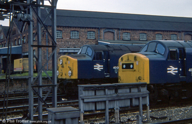Contrasting noses on earlier and later (40192) class 40s at Chester, 1979.