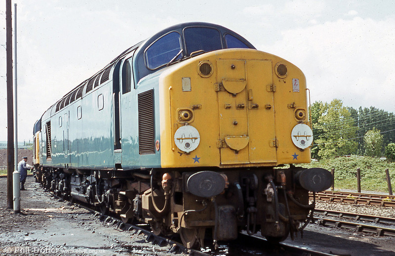 One of the early series class 40s, 40014 'Antonia' stabled at Croes Newydd, Wrexham in 1979.