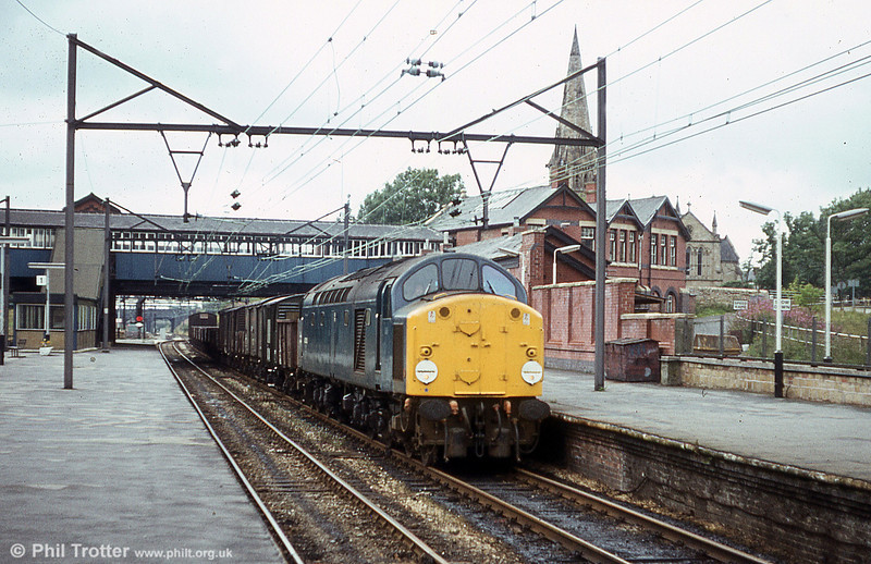 40082 heads a mixed freight through Guide Bridge on 18th August 1980.