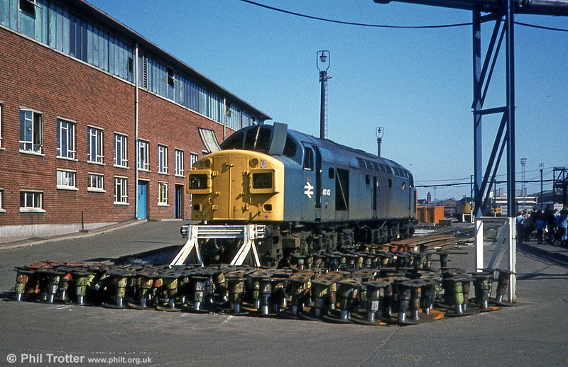 40142 in the process of being dismantled at Crewe Works on 15th April 1981. The loco was finally disposed of in September 1983.