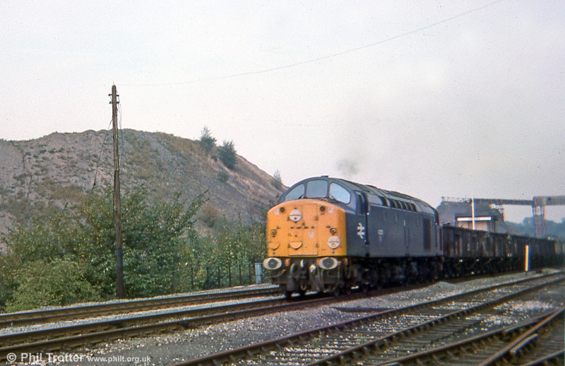 Showing signs of recent use on a Royal Train, an unidentified member of the early series (either 40019 or 40025) or passes Gresford Colliery, Wrexham, in September 1975. Class 40s were preferred motive power for Royal Trains until around 1977.