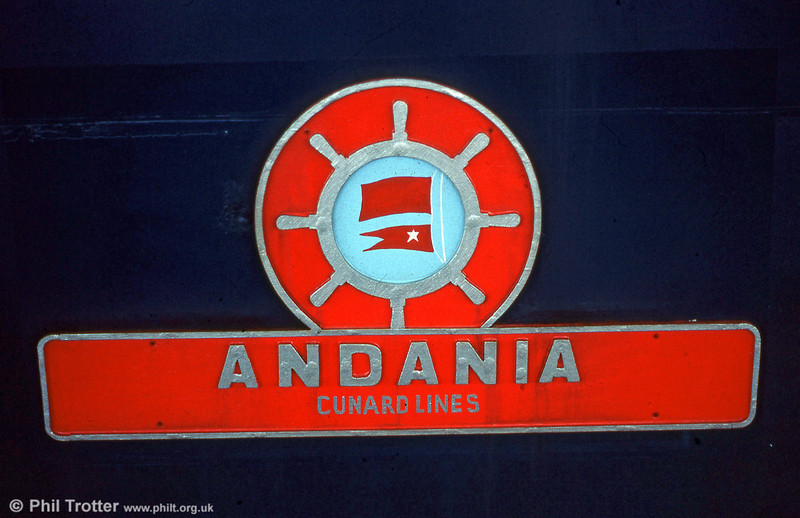 Replica nameplate of 40013 'Andania', illustrating the merchant navy themed plates applied to early members of the class.