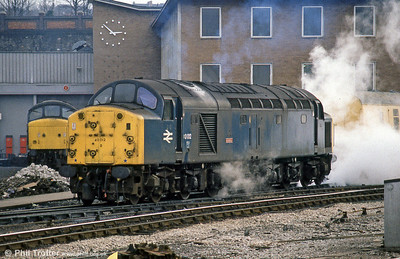 The two-day 'Cornishman' railtour of 25th-26th January 1985 was an elaborate affair, originating at St. Pancras and using a variety of motive power, including 40012 'Aureol' on the Birmingham/Leicester - Bristol and return section. Here, 40012 'raises steam' for the return leg at Bristol Bath Road on 26th January.