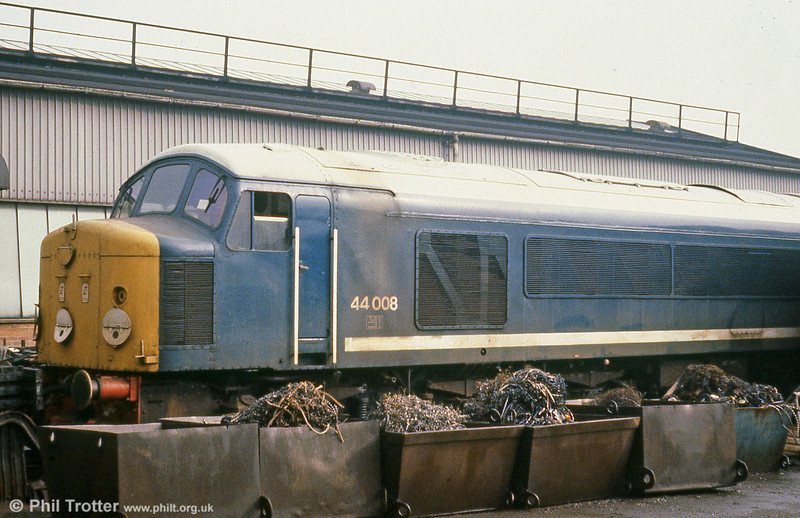 44008 'Penyghent' dumped at Derby works on 23rd February, 1980.
