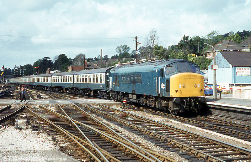 A class 46 enters Exeter St. Davids. Note the crossing keeper (left).