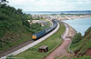 A class 45 on a summer Saturday express to the West in full flight at Dawlish Warren.