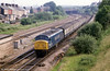 July 1985 finds a 'Peak' passing Gaer Junction, Newport from the west.