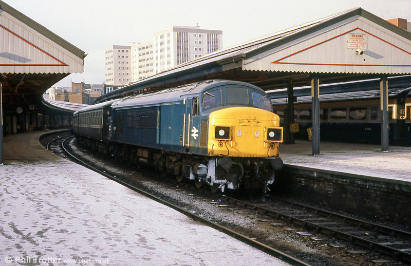 A wintry scene as 'peak' no. 45047 waits to leave Swansea with a 'cross country' service on 22nd March, 1980. The former D69 had just five months left in traffic; it was subsequently dismantled at BREL, Derby in February 1981.