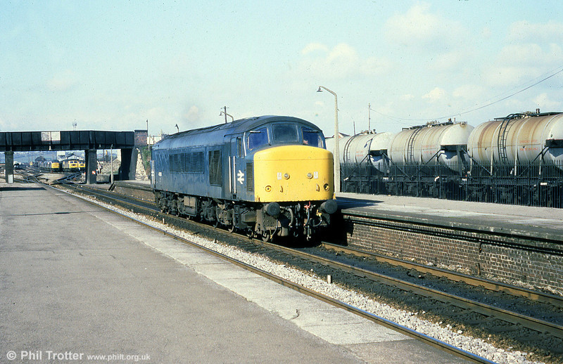 45028 runs light through Severn Tunnel Junction on 22nd March 1980.