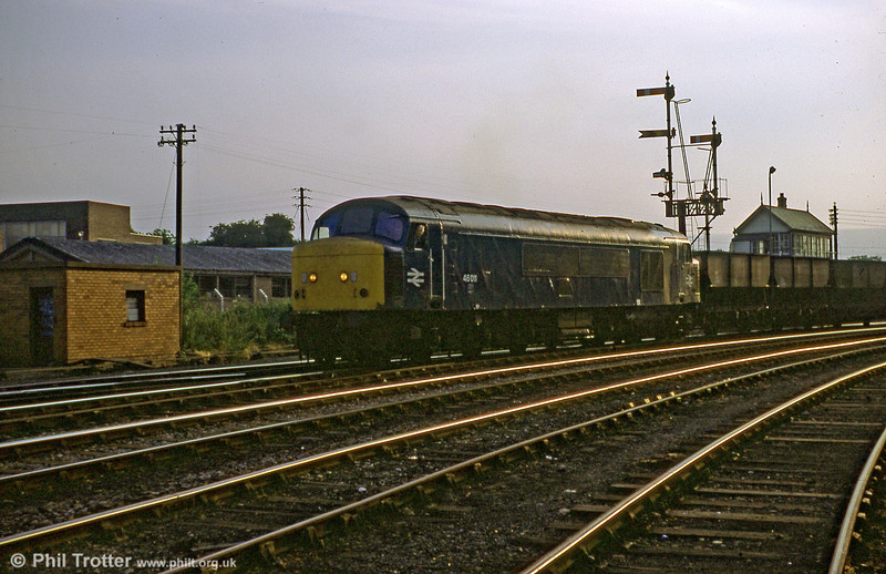Class 46 sunset: Peaks were never that common at Wrexham. This is 46011 at Croes Newydd on 3rd September 1979.