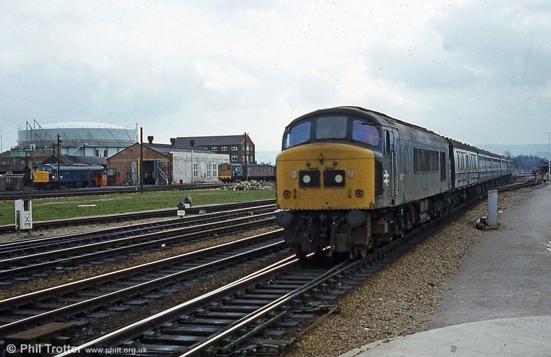 A class 45 approaches Gloucester with a cross-country service. Of interest is the activity at Horton Road Depot, in the background.