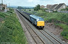 A spotless class 46 near Yatton with a 'Motorail' service. Note the stop markers for 12 and 13 coach trains!