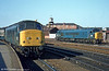 Peaks at Derby. The nearest is on an Inter City express to London St. Pancras, with 45007 standing by.