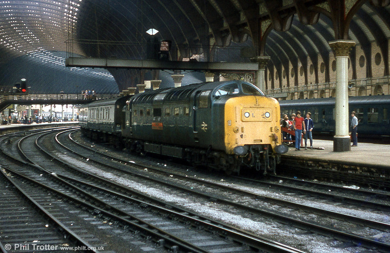'Deltic' class 55 no. 55019 'Royal Highland Fusilier' under the magnificent roof at York.