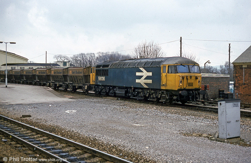 Way back in 1979, 56036 became the first of the class to carry BR's 'large logo' livery. The locomotive is seen on stone empties at Westbury a few years later in March 1985. 56036 eventually was cut up by Booth, Rotherham in March 2006