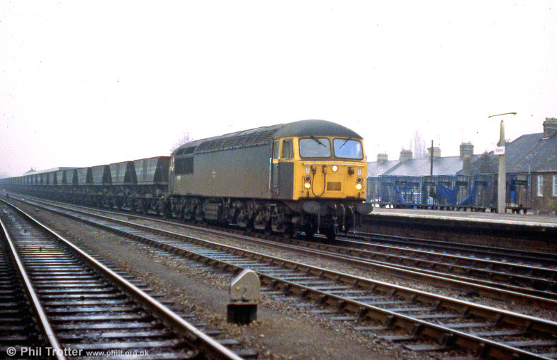 56051 runs through Oxford with a mgr train on 19th January 1980.