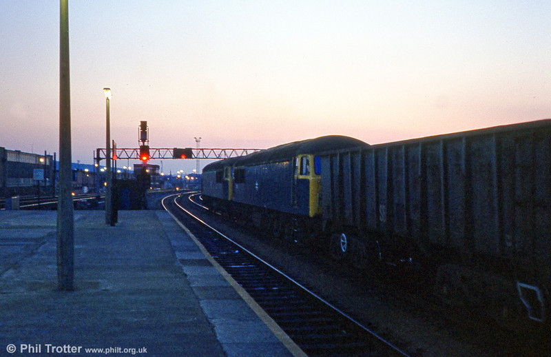 Sunset for the class 56s: 56035 and 56038 at Cardiff Central on 17th April 1980.