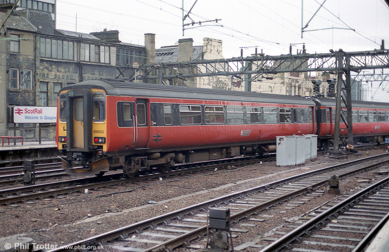 156503 is seen leaving Glasgow Central on 4th September 1990.