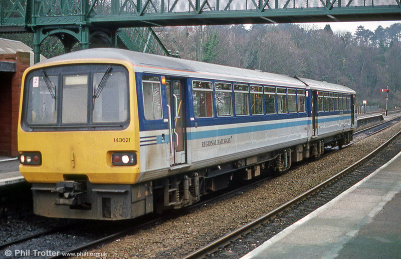Displaying BR Regional Railways livery, 143621 is seen at Radyr on a gloomy 28th December 1991.
