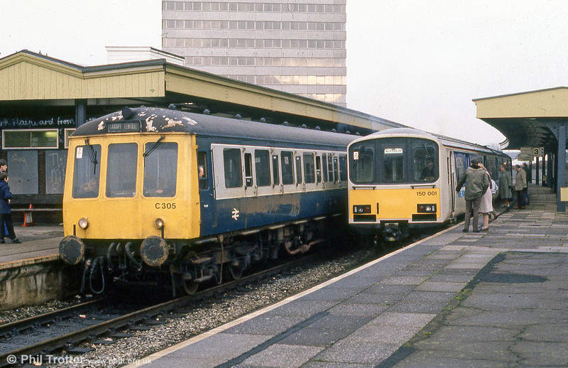 The old and the new: 150001 attracts a great deal of attention on a demonstration run at Cardiff Queen Street in February 1985.