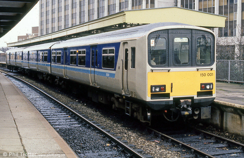 Prototype class 150 unit 150001 on a demonstration run at Cardiff Queen Street in February 1985. One of two prototypes built in 1984, 150001 was fitted with Cummins NT855 285HP engines and Voith transmission.