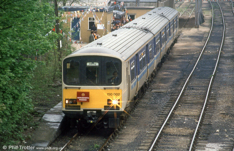 One of the first of the new generation of dmus, 150002 is seen at Wirksworth with 'The Wirksworth Phoenix'  organised by Hertfordshire Railtours on 25th May 1985.