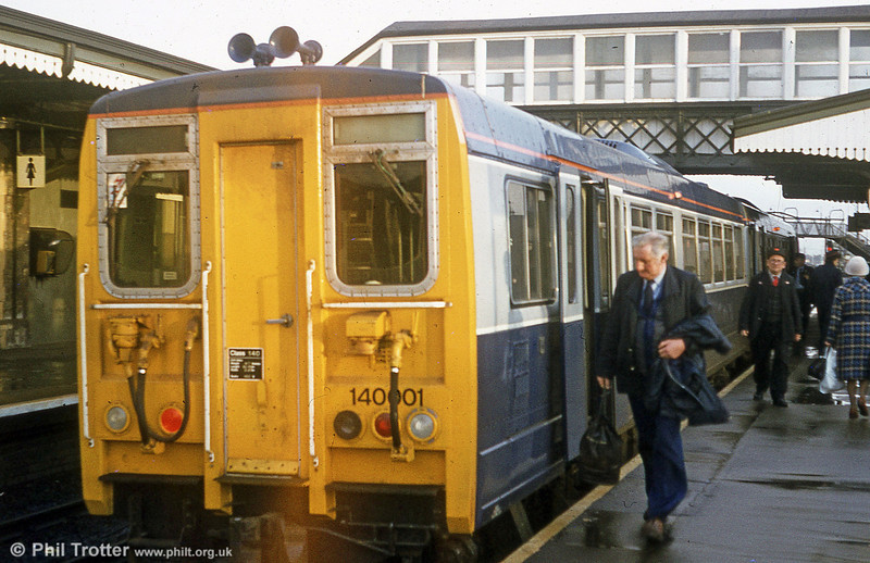 Second generation dmu prototype 140001 calls at Llanelli with a Central Wales Line service for Swansea in January 1982. The unit is preserved at the Keith & Dufftown Railway.