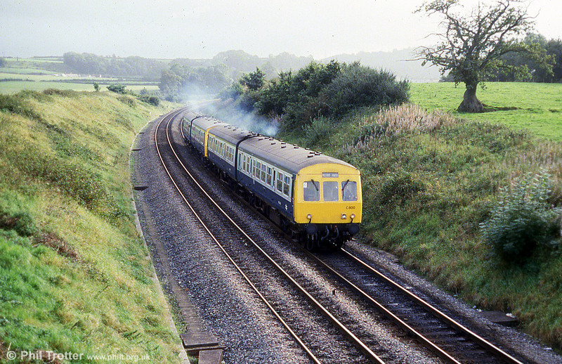 Metro Cammell Class 101approaching Carmarthen at Pibwrlwyd with a service for Milford Haven on 22nd September 1985.