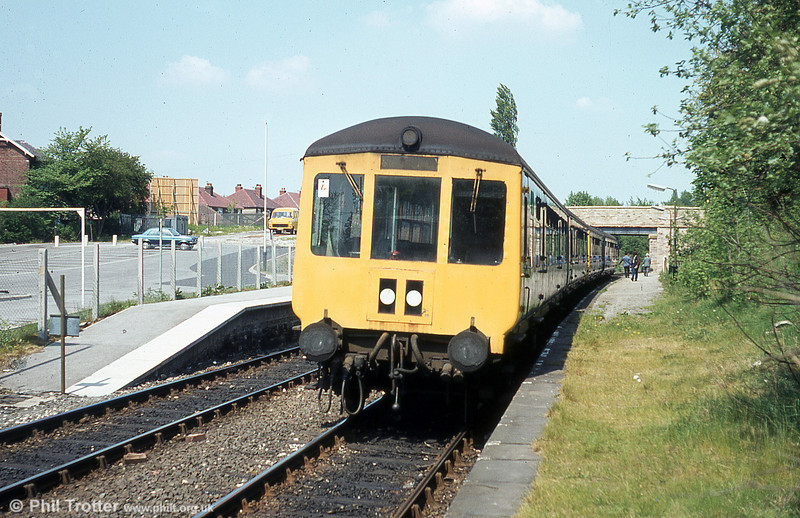 Gloucester RCW class 100 dmu at Rose Hill Marple on 17th May 1980.