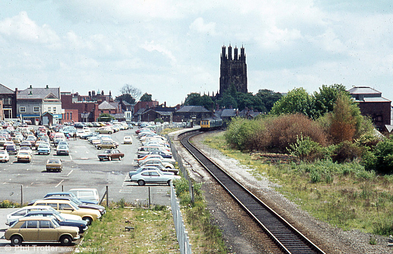 An overview of the former Wrexham Central station in 1979.