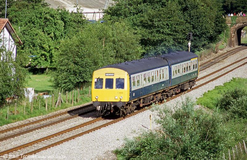 A Shrewsbury-bound class 101 passes Ponthir in July 1985.