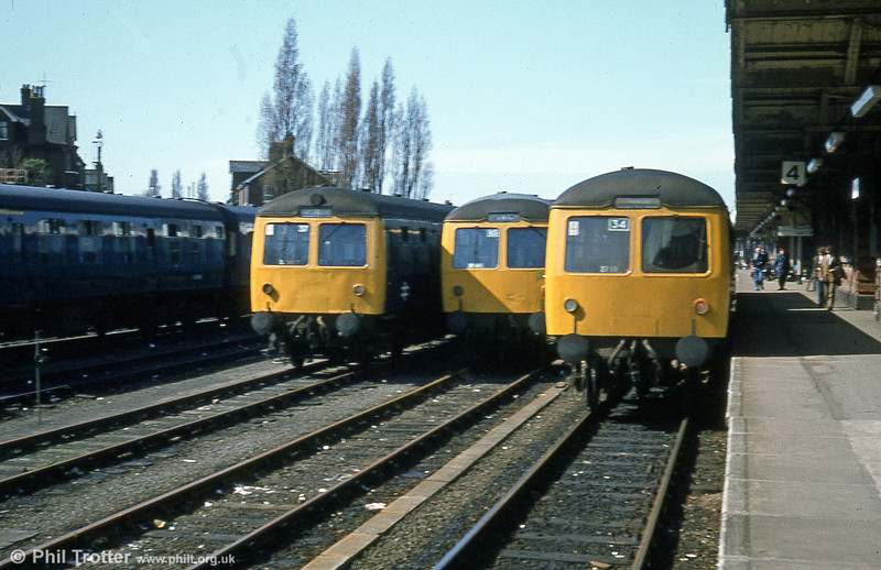 A trio of Cravens class 105 units at Ipswich on 28th March 1981.