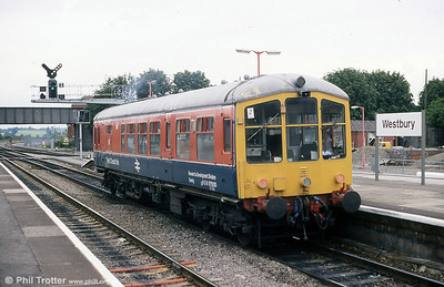 Derby Lightweight single car unit 79900/RDB 975010 running as 'Test Car Iris' at Westbury in September 1988. This unit has been preserved at the Midland Railway Centre, Butterley and the Ecclesbourne Valley Railway.
