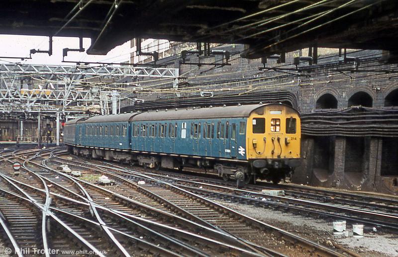 1958 Eastern Region Class 302 unit 214 at London Liverpool Street, 5th August 1980.