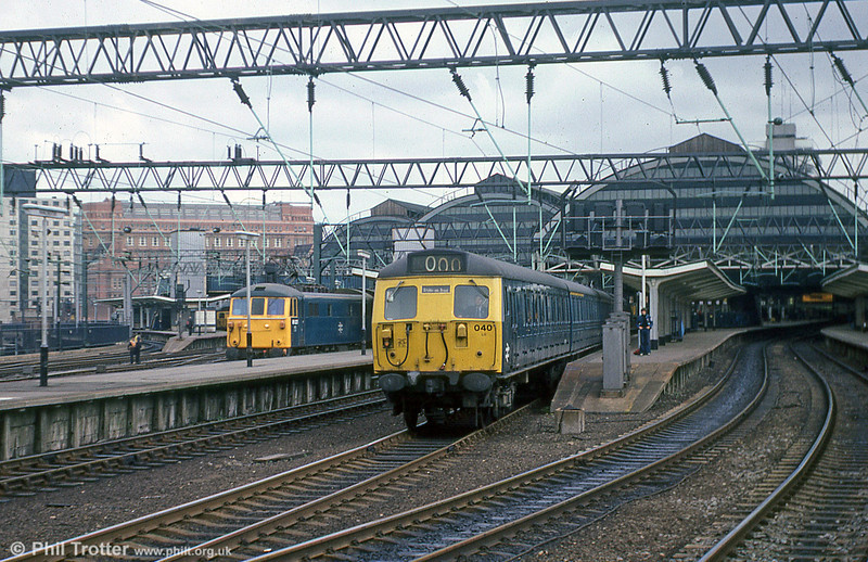 Class 304 no. 304040 leaves Manchester Piccadilly with a stopping service for Stoke on Trent on 19th July 1979.
