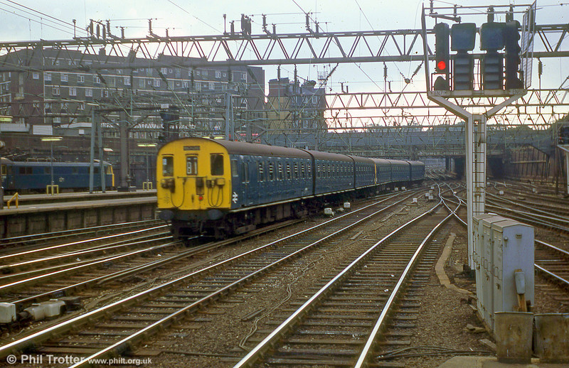 A Watford and North London class 501 650V DC third rail units arriving at London Euston on 18th July 1979.