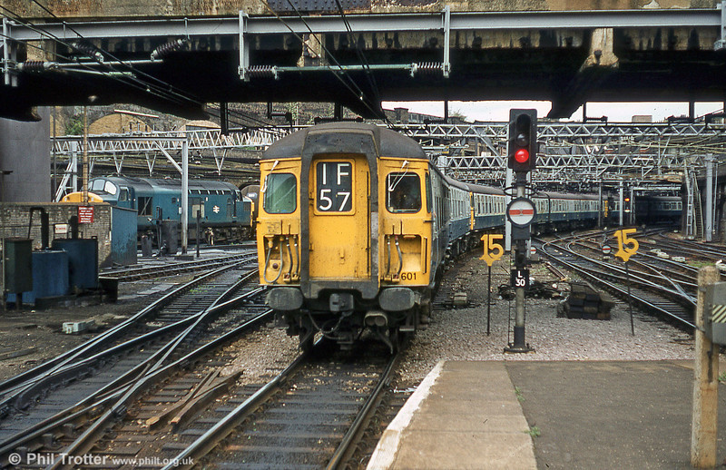 Class 309 'Clacton' unit 309601 arrives at London Liverpool Street on 5th August 1980.