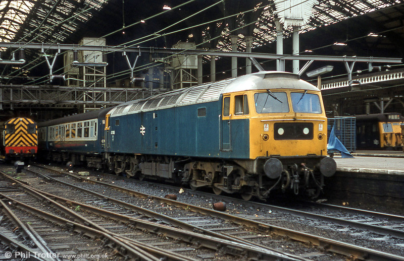47006 stands at London Liverpool Street with a service for East Anglia on 5th August 1980.