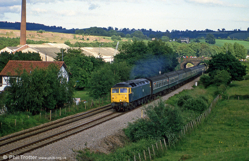A class 47 heading north on the 'North & West' route at Ponthir in July 1985.